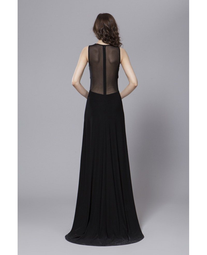 Sexy Black Sheath Chiffon Long Dress With Front Split