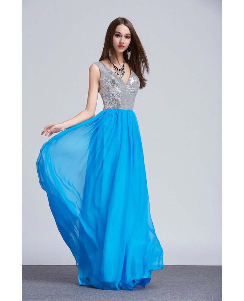 Stylish A-Line V-neck Sequined Chiffon Long Prom Dress With Ruffle ...