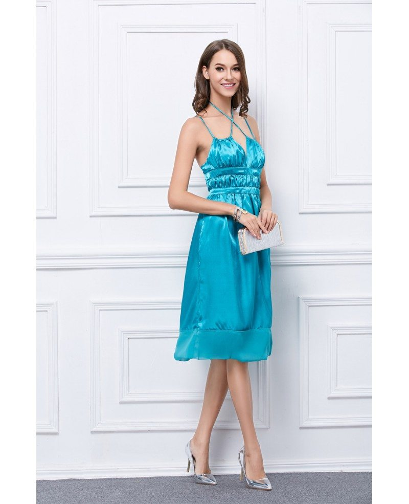 Bling Bling Satin Knee-Length Party Dress With Ruffle #KC18 $39.5 ...