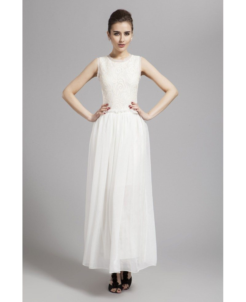 Long Gowns For Wedding Guests: Stylish A-Line White Lace Chiffon Long Wedding Guest Dress