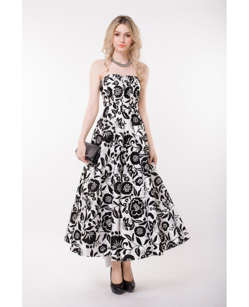 Stylish Strapless Floral Print Long Wedding Guest Dress