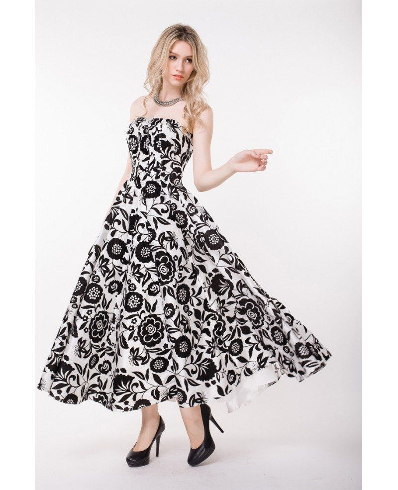Wedding Guest Dress: Stylish Strapless Floral Print Long Wedding Guest Dress