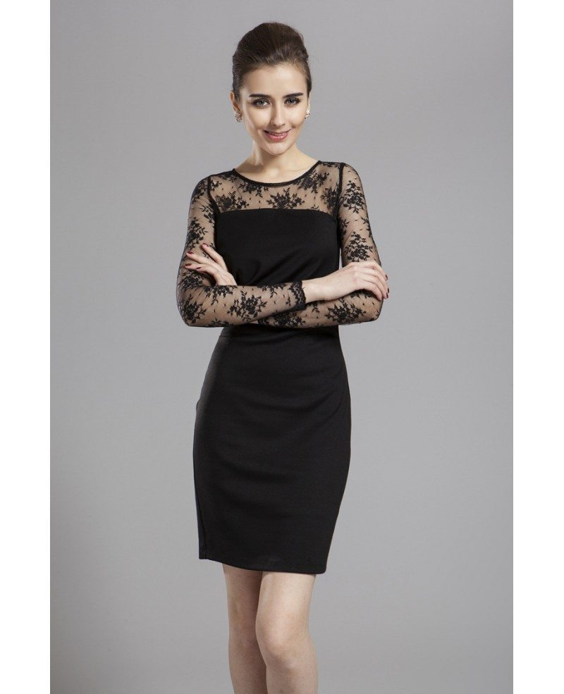 Chic Sheath Black Lace Short Wedding Guest Dress With Long