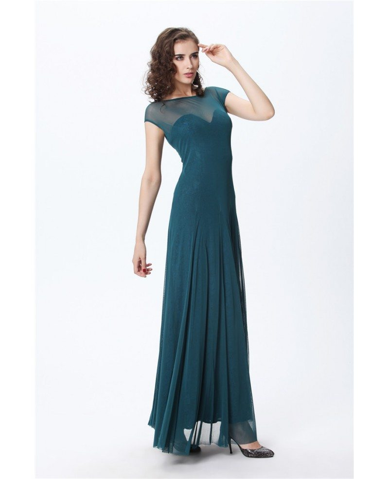Elegant A-LineTulle Lace Long Evening Dress With Ruffle # ...