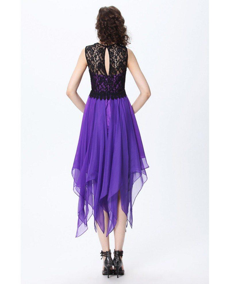 purple chic aline lace chiffon asymmetrical wedding party