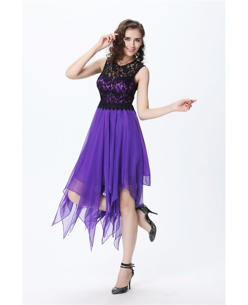 Purple Chic A-Line Lace Chiffon Asymmetrical Wedding Party Dress ...