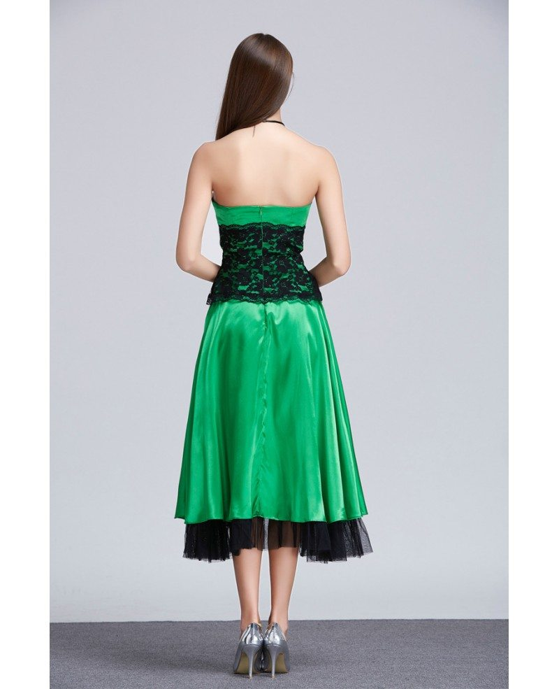 Chic A Line Strapless Lace Satin Tea Length Wedding Guest