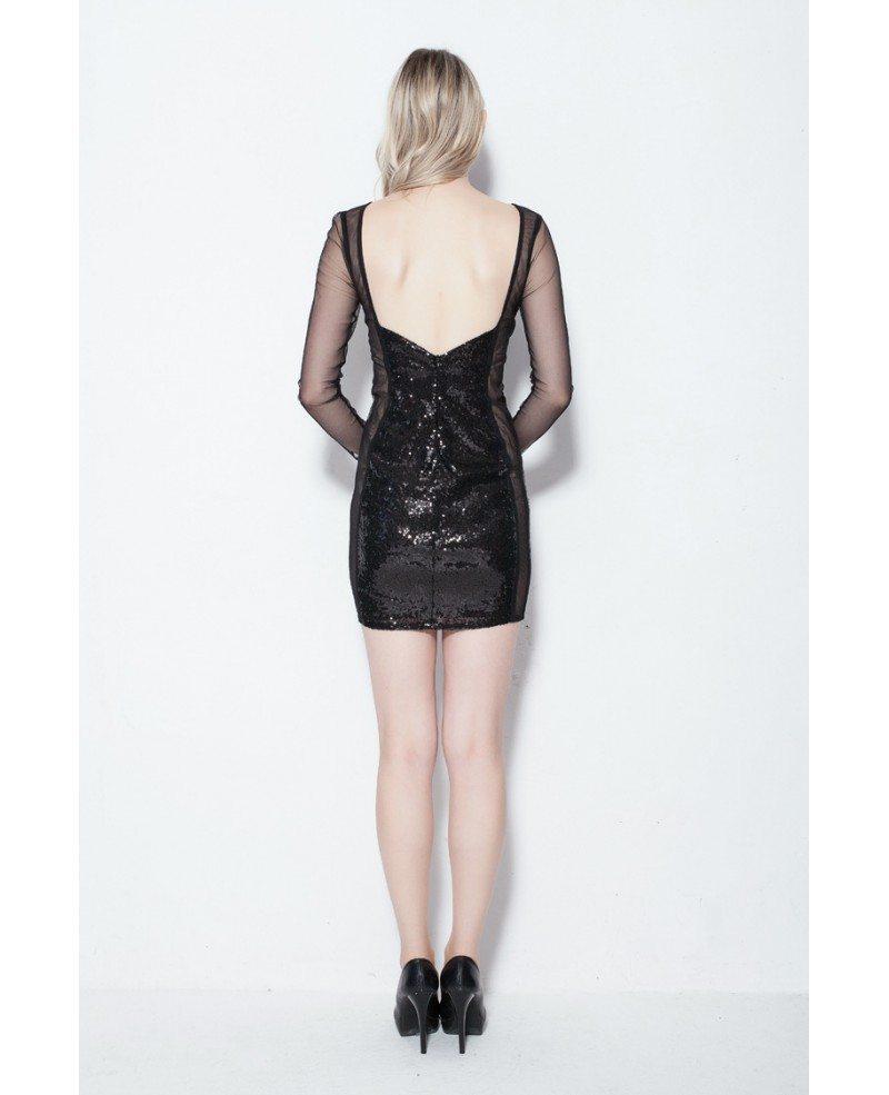 Little Black Shining Mini Fitted Dress Dk114 64 6