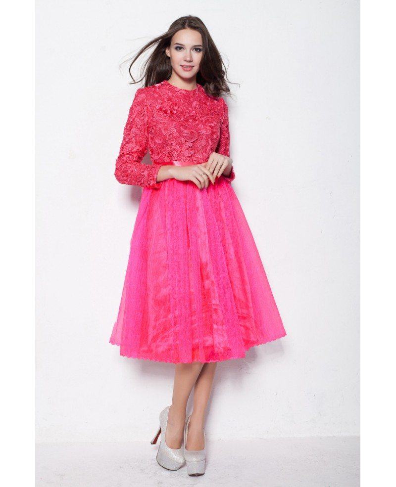 Modest Fuschia Long Sleeves Lace Tulle Graduation Dresses in Short ...