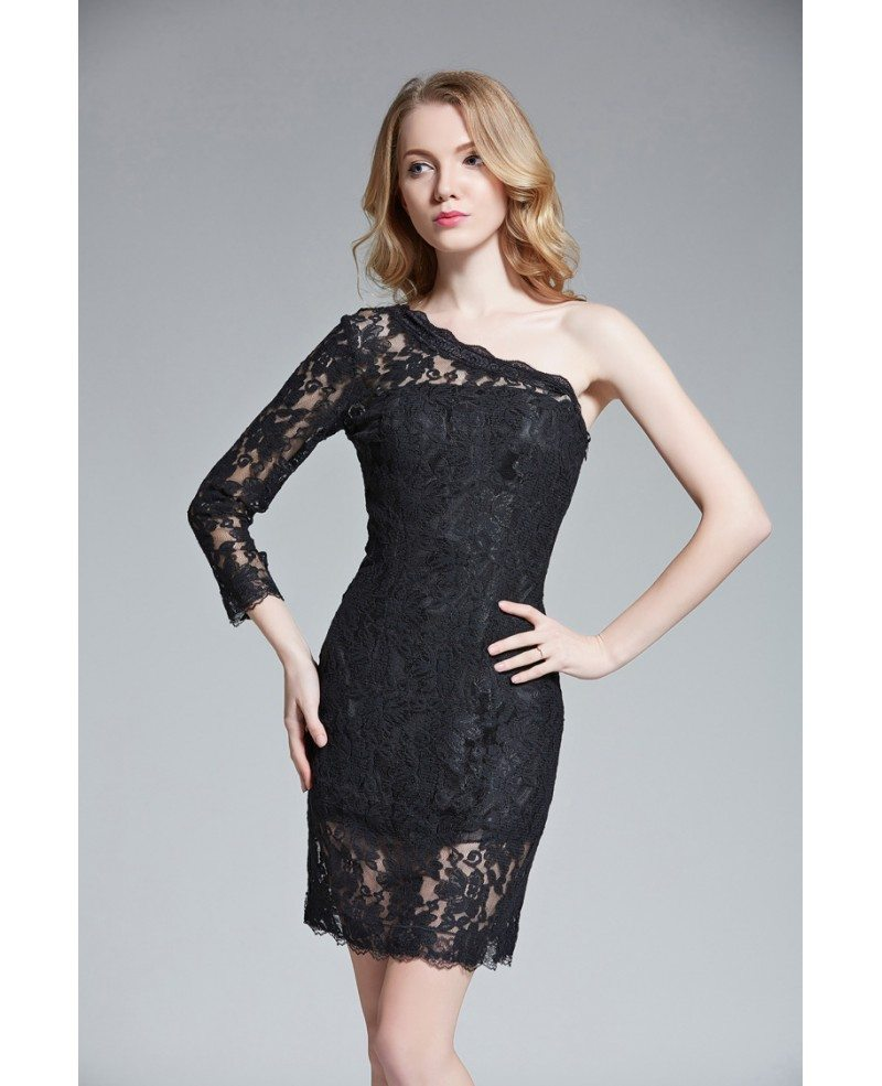 chic sheath oneshoulder lace short wedding guest dress