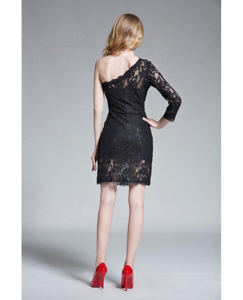 Chic sheath one shoulder lace short wedding guest dress for Lace dress for wedding guest