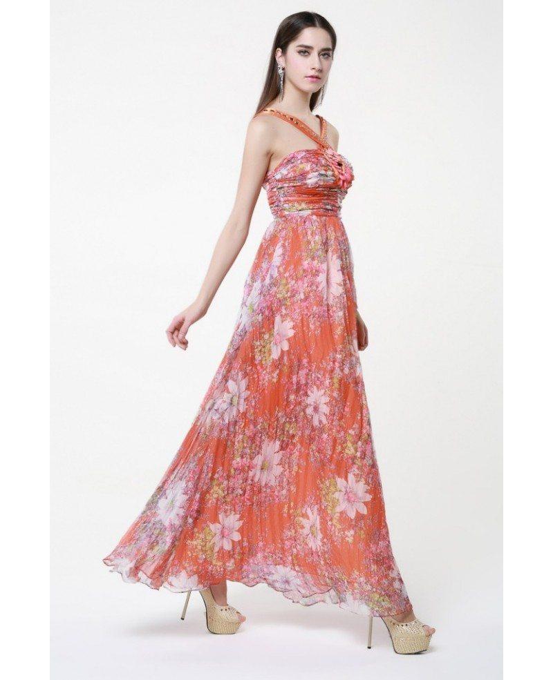 Summer High Waist Floral Print Chiffon Long Wedding Guest Dress ...