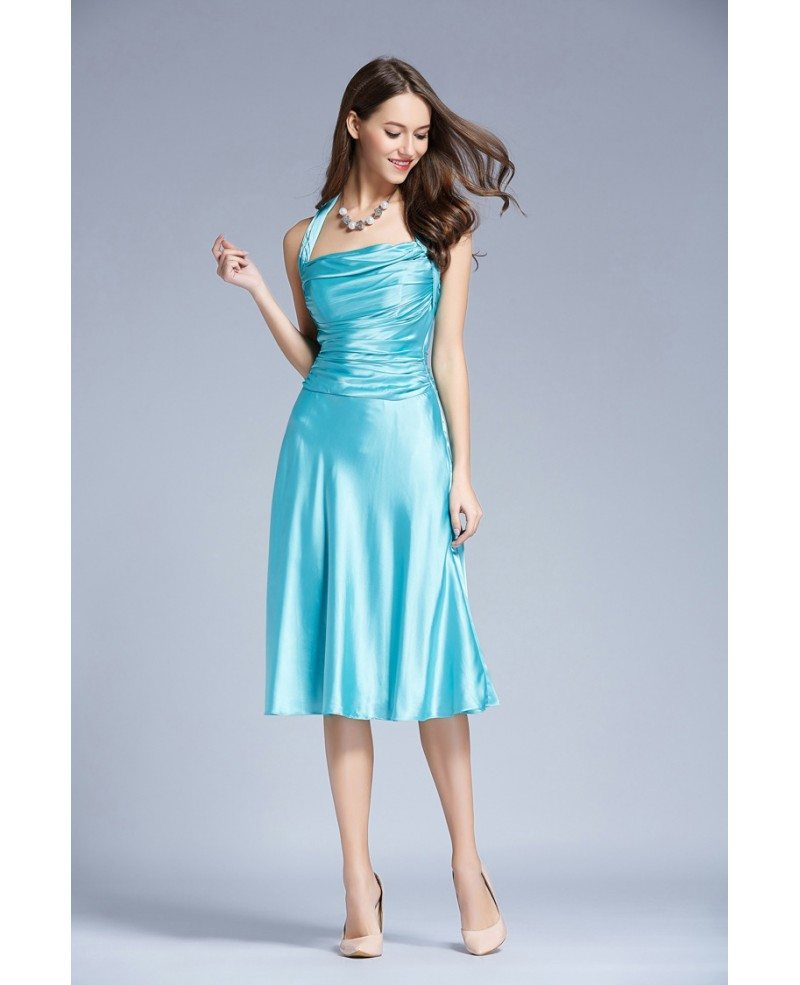 Stylish Halter Satin Tea-Length Wedding Guest Dress With Ruffle ...