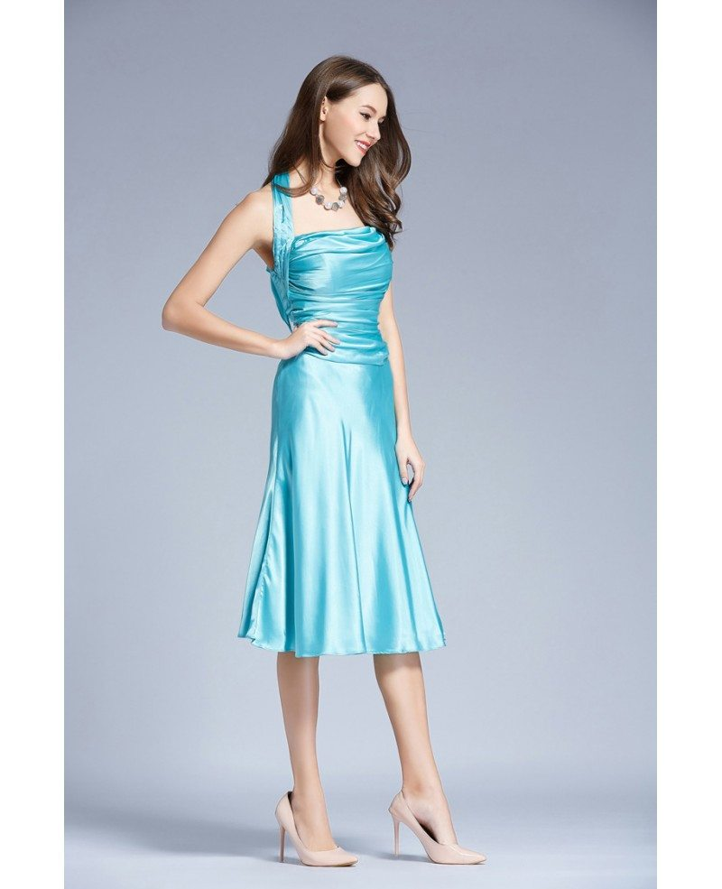 Stylish halter satin tea length wedding guest dress with for Halter dresses for wedding guests