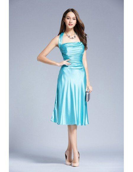 Stylish halter satin tea length wedding guest dress with for Halter dress wedding guest