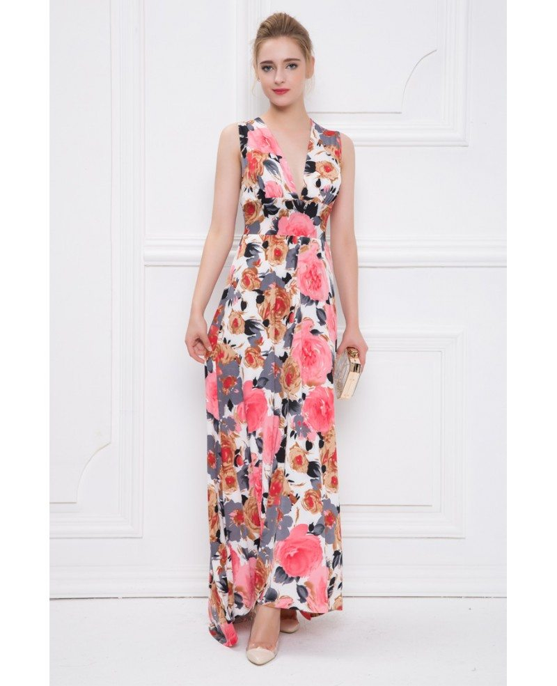 Summer V-neck Floral Print Chiffon Long Wedding Guest Dress #CK311 ...