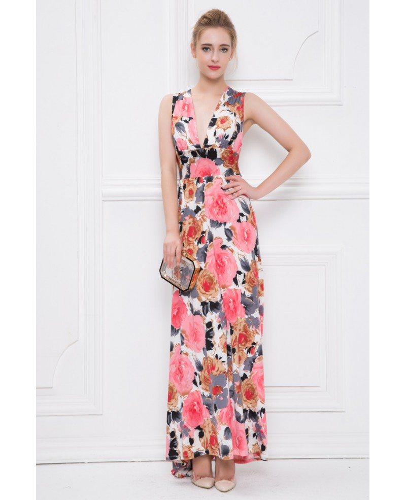 Summer V Neck Floral Print Chiffon Long Wedding Guest