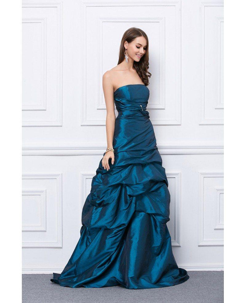 Fancy Dressing Gowns: Fancy Ball-Gown Strapless Taffeta Floor-Length Prom Dress
