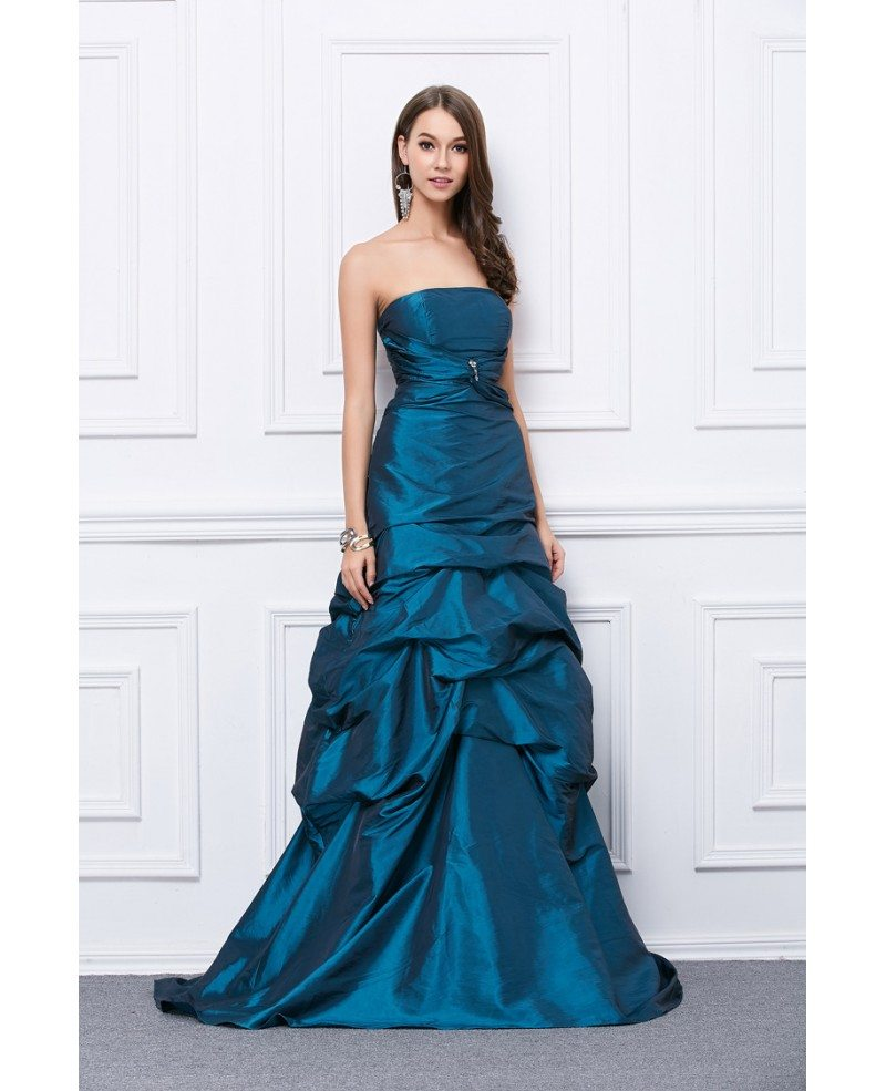 Fancy Ball-Gown Strapless Taffeta Floor-Length Prom Dress #KC167 ...
