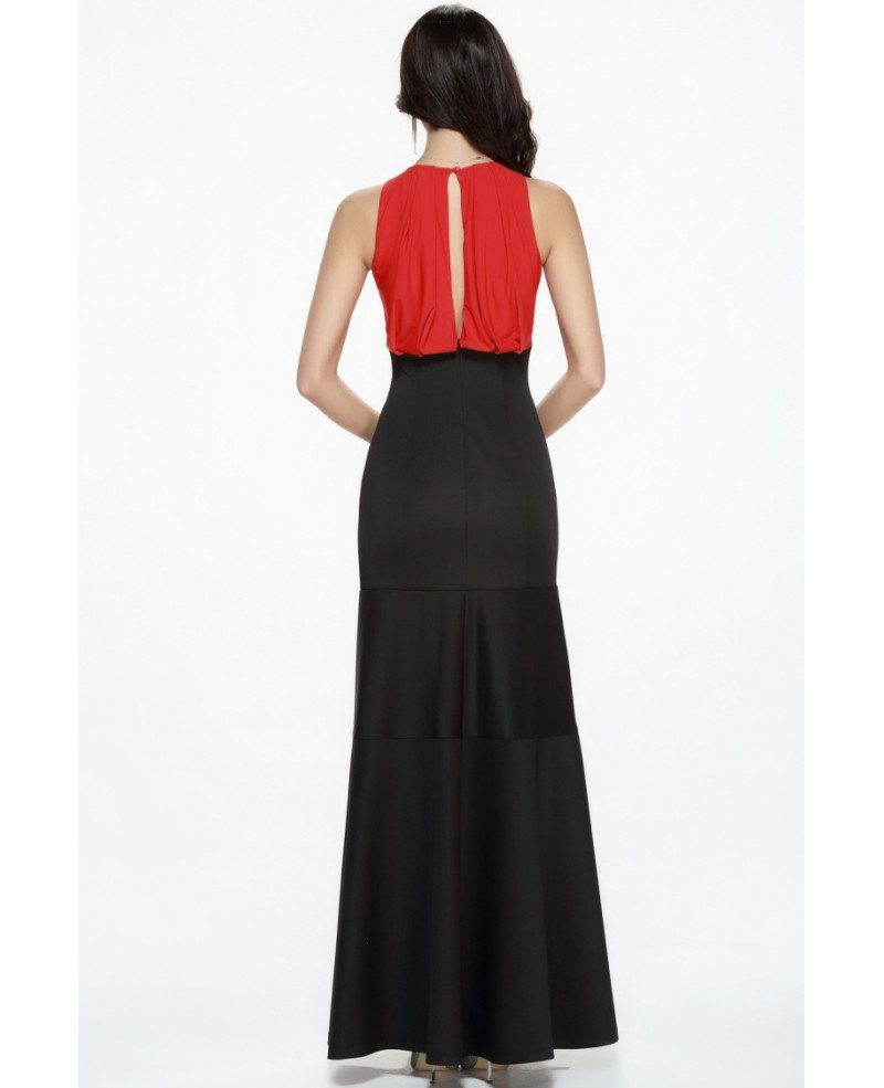 Celebrity Inspired Mermaid Black and Red Cotton Long Evening Dress ...