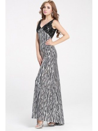 2016 New Sparkly Silver Vneck Long Dress Formal