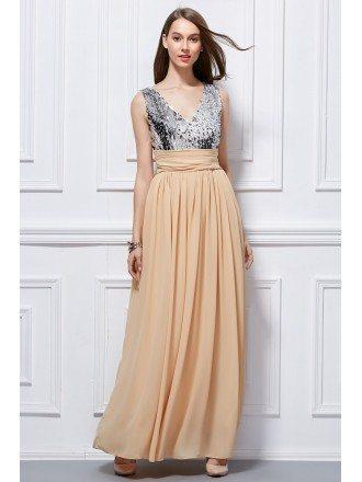 Stylish Sequined V-neck Chiffon Long Prom Dress With Ruffle