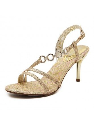 Glitter Heel Sandals With Ankle Strap Style