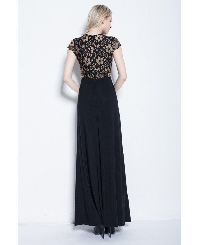 Elegant A-Line Black Long Formal Dress With Lace Top #CK250 $88 ...