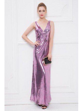 Sparkling Sheath V-neck Pink Sequined Long Evening Dress