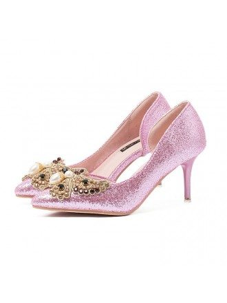 Sparkling Glitter Heel Closed Toe Pumps With Rhinestone Style
