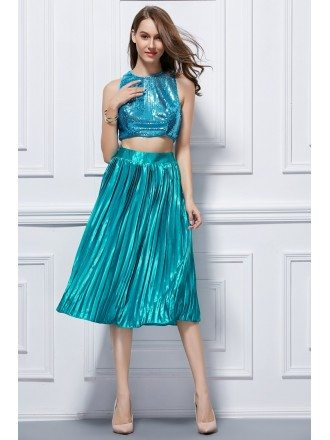 Bling Bling Two-Pieces Satin Seuqined Tea-Length Homecoming Dress