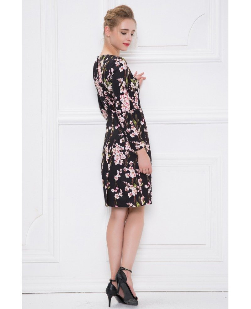 Summer Floral Print Short Wedding Guest Dress With Sleeves