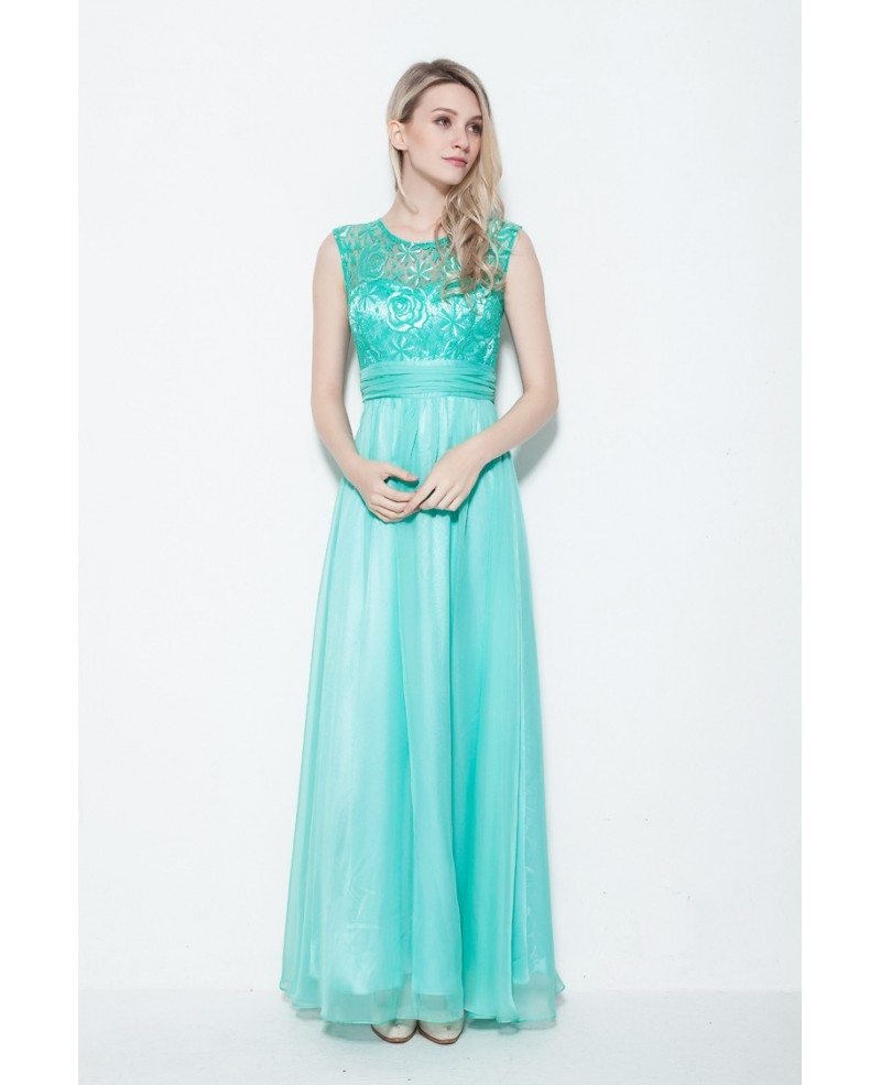 Beautiful High Neck Embroidery Chiffon Lavender Evening Dress for ...