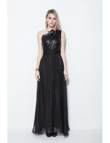 Chiffon and leather one shoulder long black party dresses for Leather wedding dresses black