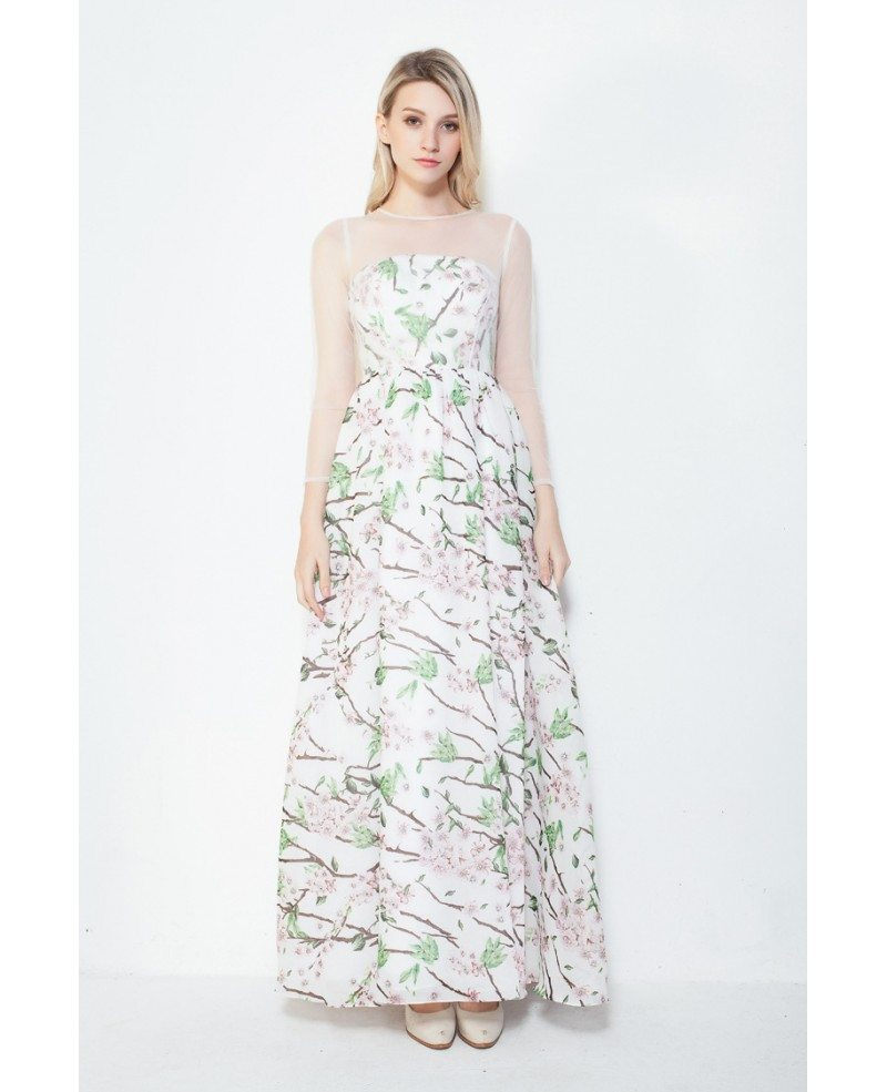Fresh A-Line Floral Print Summer Wedding Guest Dress With