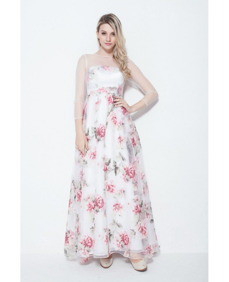 Fresh a line floral print summer wedding guest dress with for Floral print dresses for weddings