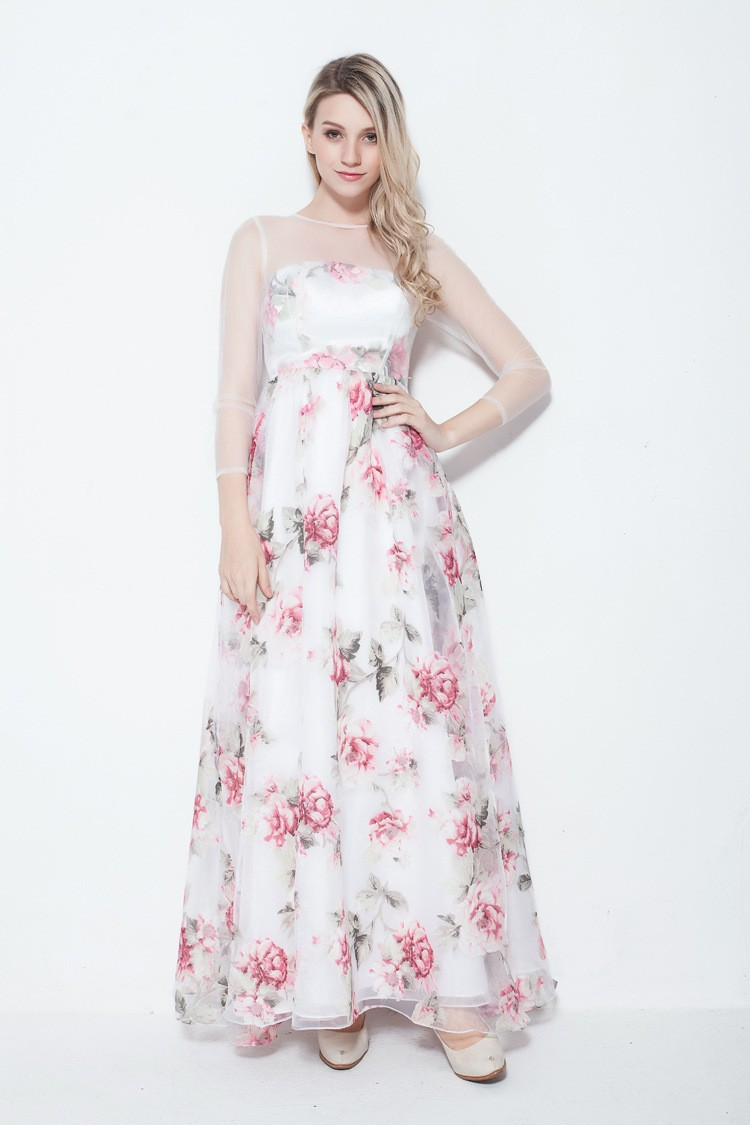 Fresh A Line Floral Print Summer Wedding Guest Dress With