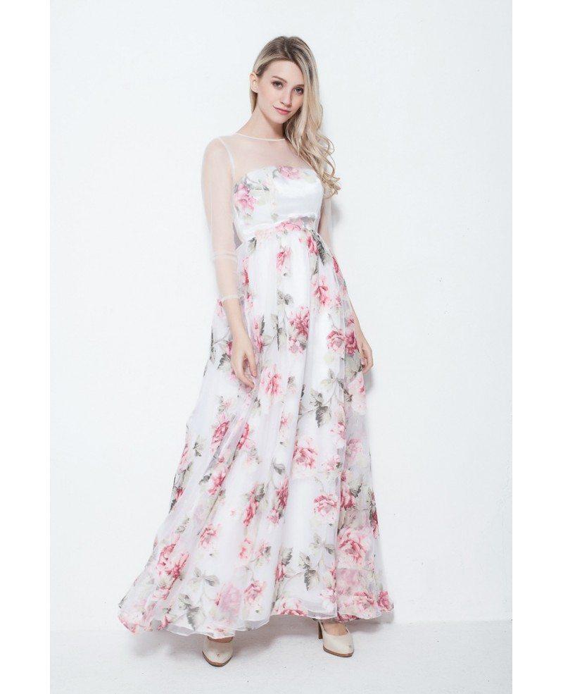 Fresh a line floral print summer wedding guest dress with for Floral wedding guest dresses