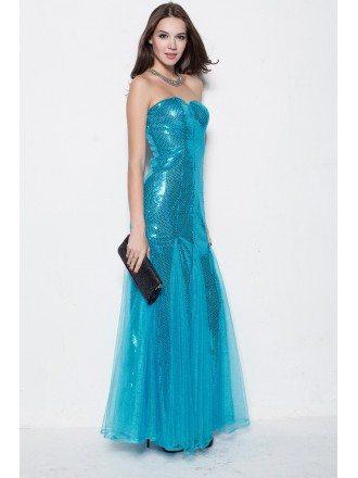 Trendy Strapless Aqua Blue Tulle Sequin Long Dress