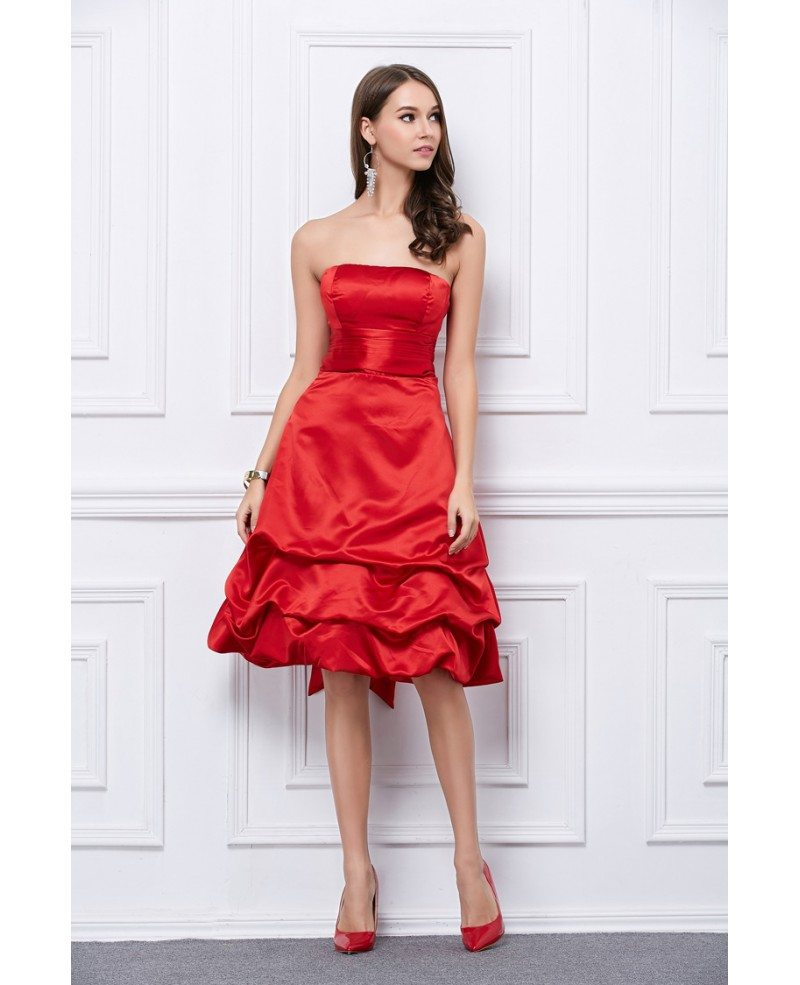 Edgy Strapless Satin Short Dress With Bow Ruffle #KC176 ...