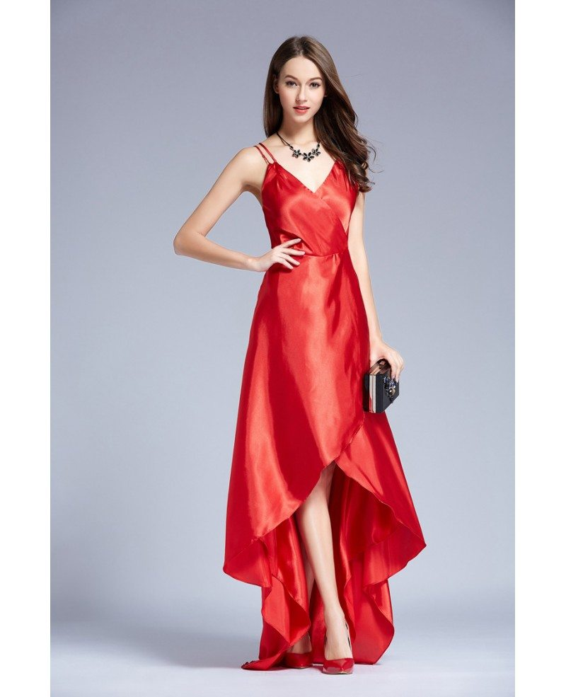 Red Edgy V-neck Asymmetrical Satin Evening Dress #KC183 $62.9 ...