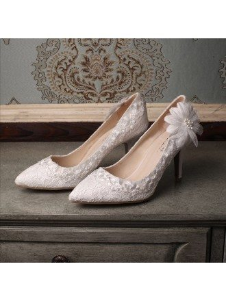 Lace Flower Heel Closed Toe Pumps