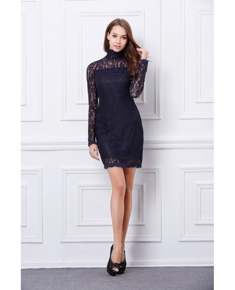 Chic High Neck Black Lace Mini Weeding Guest Dress With Long Sleeves ...