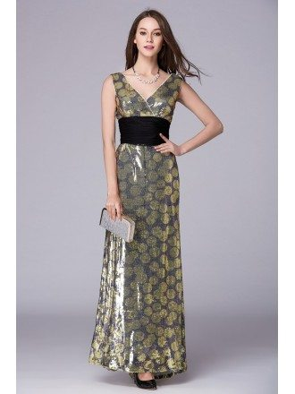 Chic V-neck High Waist Sequined Long Prom Dress