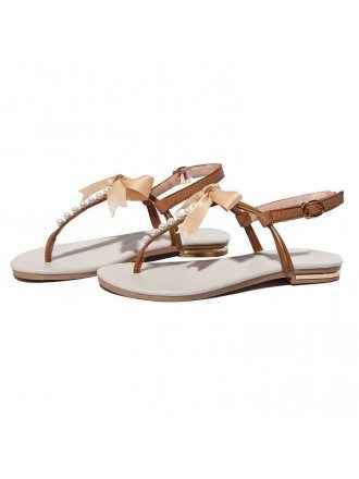 Pearl T-Strap Slingback Sandals