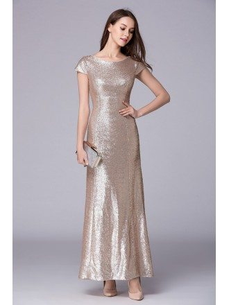 Chic A-Line Sequined Long Prom Dress With Cape Sleeves