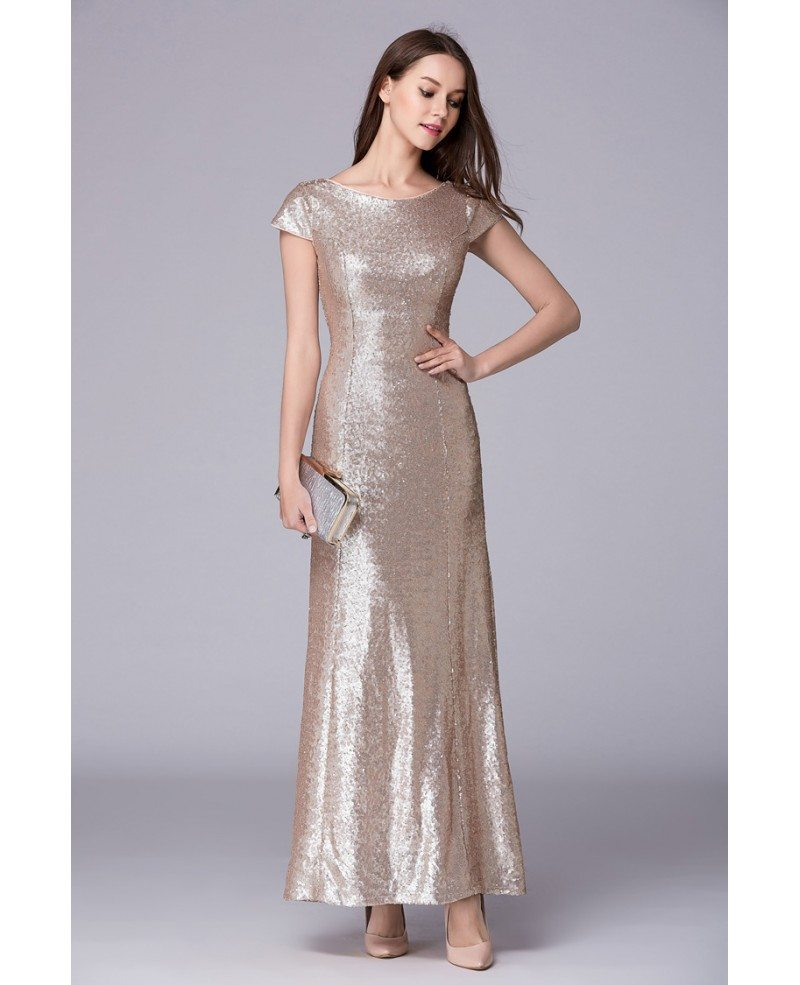 Chic A-Line Sequined Long Prom Dress With Cape Sleeves #CK498 $96 ...