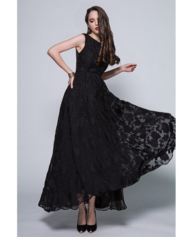 Vintage Black A-Line Lace Long Formal Dress #CK294 $97.7 - GemGrace.com
