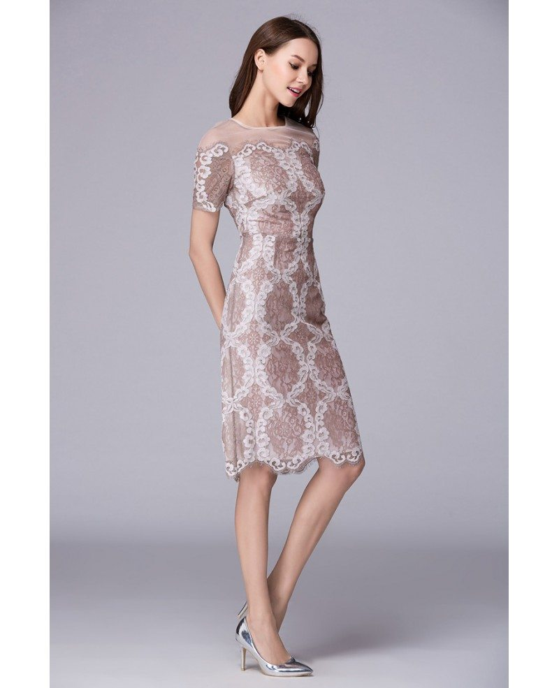 Elegant A-Line Lace Midi Mother of the Bride Dress With Sleeves ...