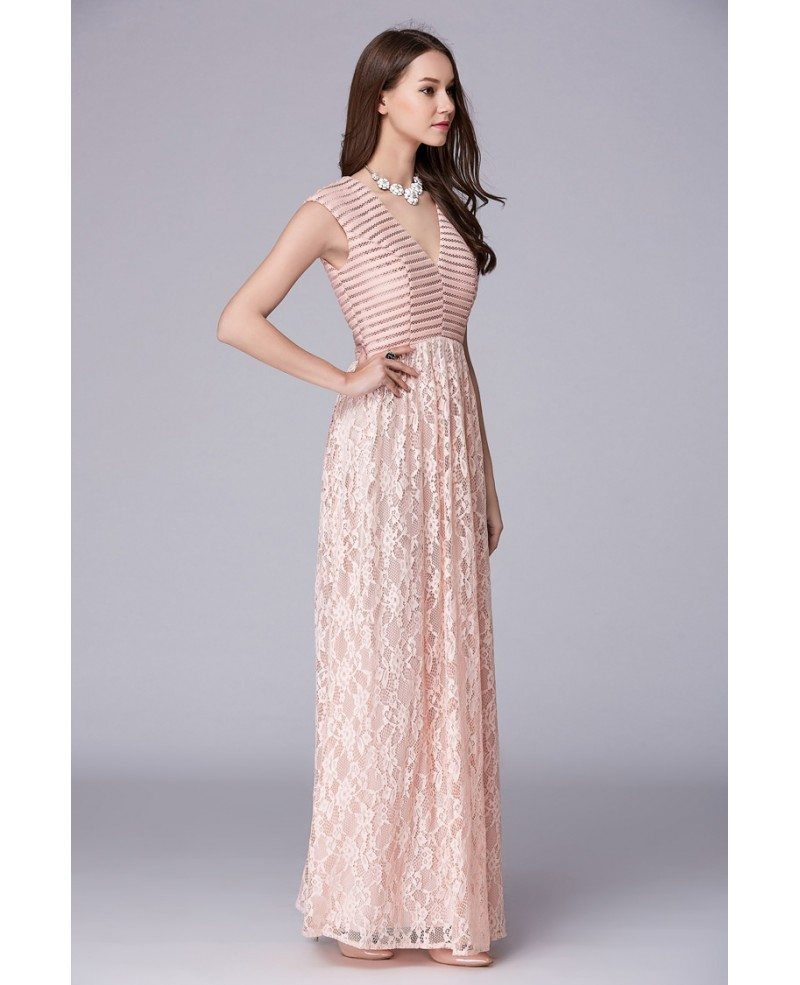 Blush Pink Stylish A-Line V-neck Lace Long Prom Dress #CK497 $102 ...